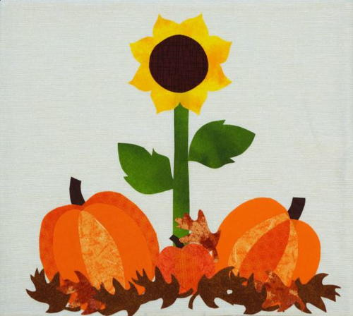Sunflower and Pumpkin Mug Rug Step 1