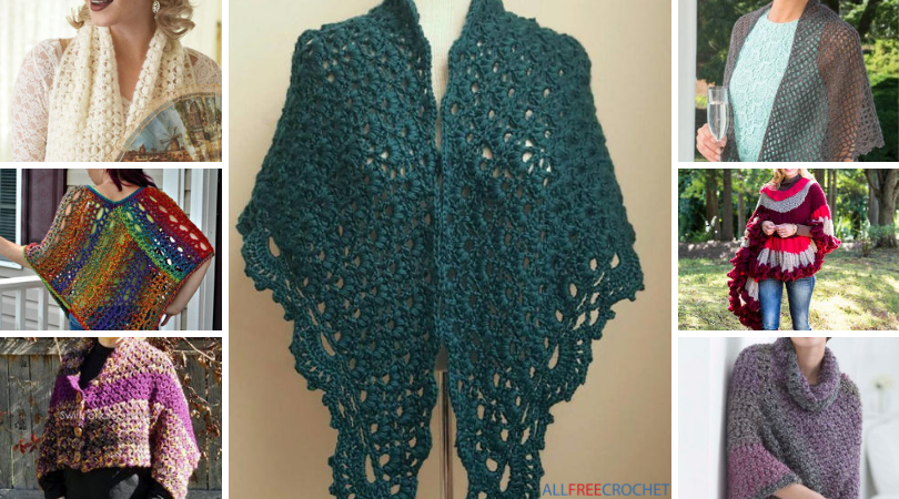 30 Free Crochet Patterns For Shawls Ponchos Wraps