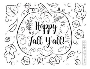 Happy Fall Ya'll Coloring Page