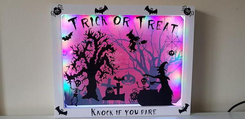 Front Door Halloween Scene Light Box
