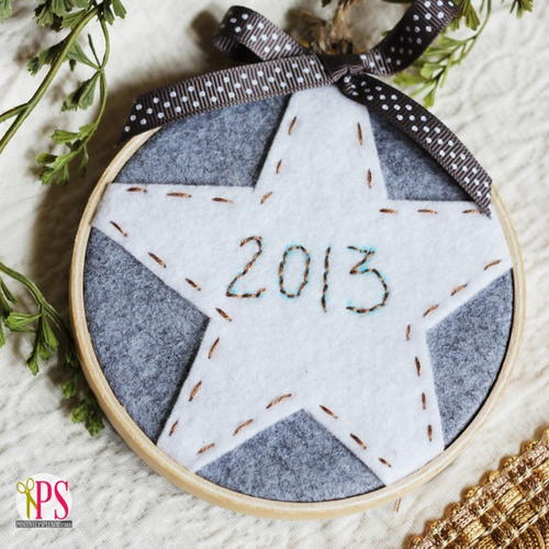 Easy Embroidered Christmas Star Ornament
