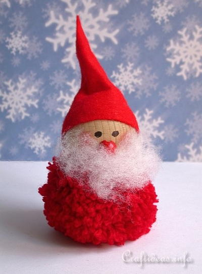 Pom Pom Little Santa Ornament