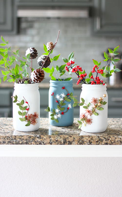 Winter Floral Ball Jar Vases