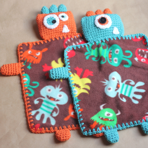 Monster Fleece Lovey Blankets