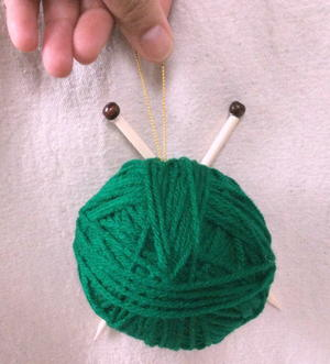 Yarn with Knitting Needles Ornament