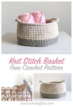 Two-Toned Knit Stitch Crochet Basket with Handles