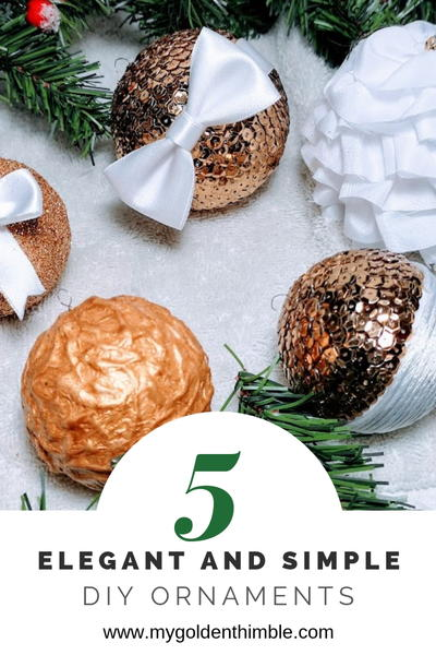 Elegant White and Gold Christmas Ornaments DIY