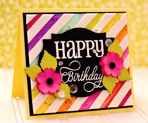 Whimsy Peony Rainbow Birthday Card