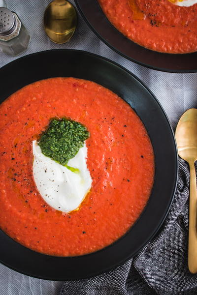 Roasted Red Pepper Tomato Basil Soup