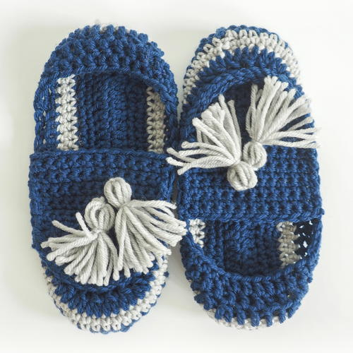 Tassel Slip-on Slippers Crochet Pattern