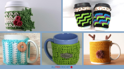 12 Free Crochet Patterns for Coffee Cup Cozies