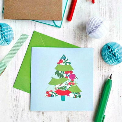 Collaged Christmas Tree Greeting Card