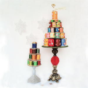 Whimsical Thread Spool Christmas Trees