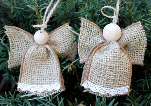 Burlap Angel Ornaments