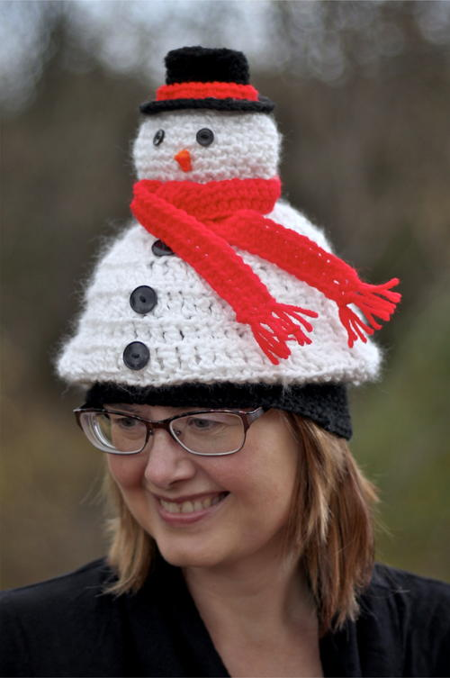 Light Me Up Crochet Snowman Hat