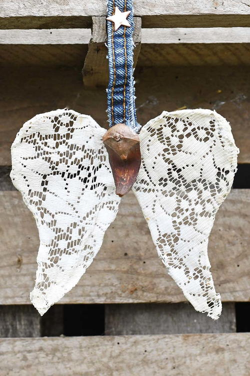 Upcycled Doily Angel Wing Ornaments