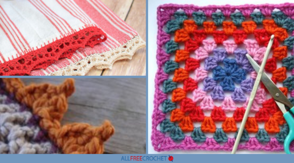 Image shows a collage from 30+ Crochet Border Patterns featuring three different border options.