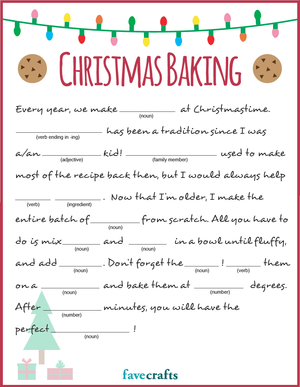 Holiday Baking Christmas Mad Libs Printable Favecrafts Com