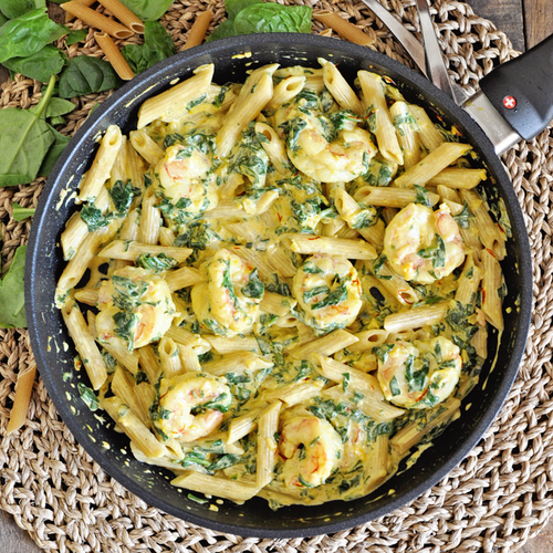 Creamy Saffron Pasta with Shrimp & Spinach