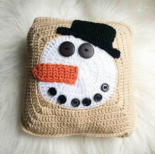 Norman Buttons the Snowman Pillow