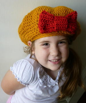 Red and Gold Crochet Bow Beret