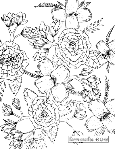 Our Prettiest Floral Coloring Page Yet