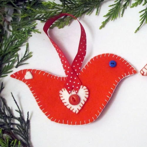 Scandinavian Doves Christmas Ornaments