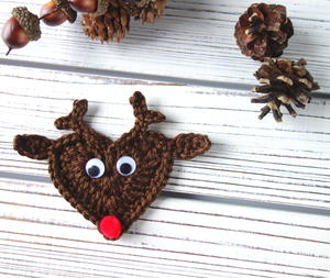Crochet Reindeer Applique or Ornament