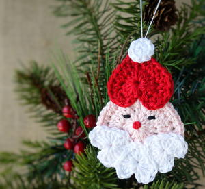 Heart Shaped Crochet Santa Ornament