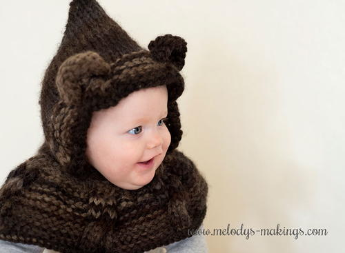 Cabled Bear Hooded Cowl