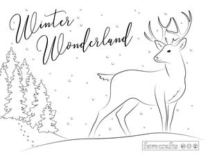 Winter Wonderland Deer Coloring Page