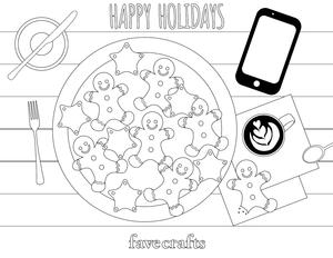 Coffee and Cookies Christmas Coloring Page