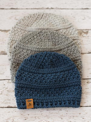 Simple Seed Stitch Beanie Crochet Hat Pattern For Men, Women, and Kids in 4 Sizes