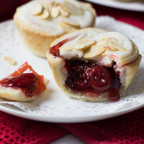 Cranberry Cherry Tarts with Almond Glaze
