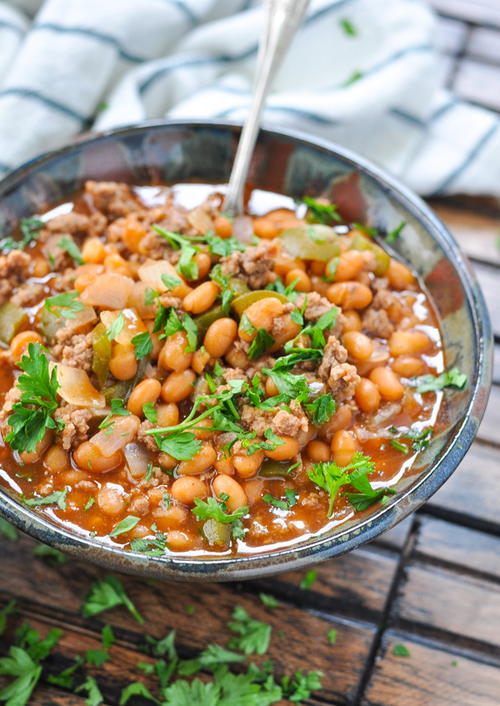 Slow Cooker Cowboy Pork and Beans