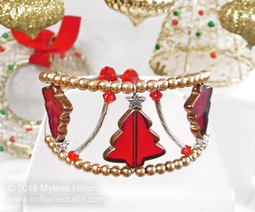 Glowing Red and Gold Christmas Tree Cuff