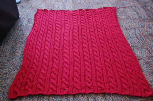 Red Cable Blanket