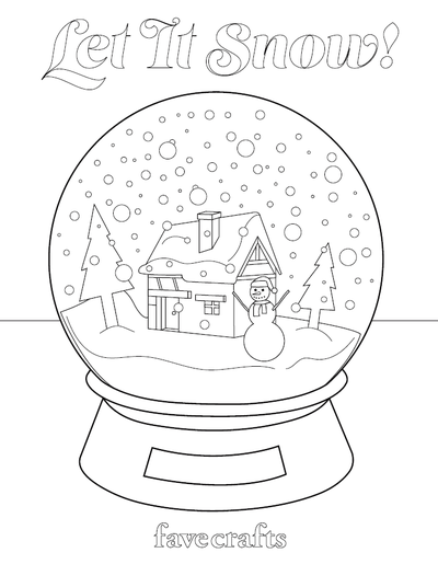Let It Snow Snow Globe Coloring Page