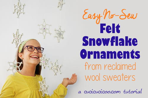 Easy no-sew snowflake ornaments from felted wool sweaters