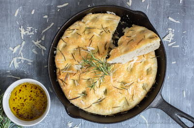 Skillet Focaccia Bread with Herbs and Parmesan