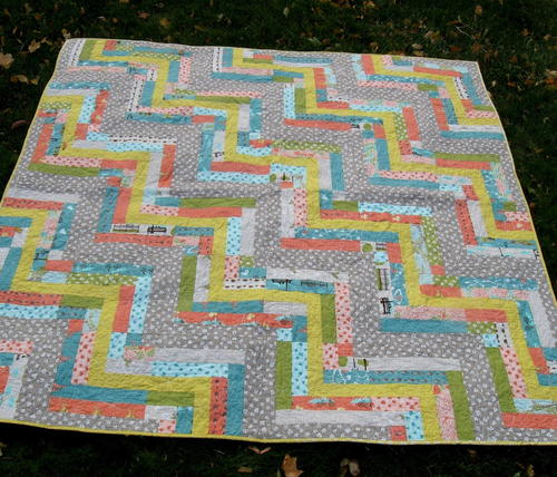 Twists and Turns Improv Quilt