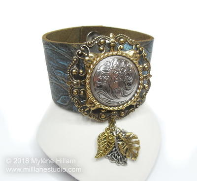 Embossed Leather Cuff with Concho Detail