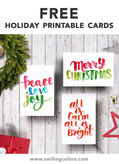 3 Free Printable Holiday Cards