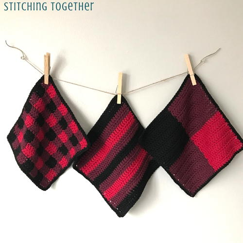 Crochet Buffalo Plaid Dishcloths
