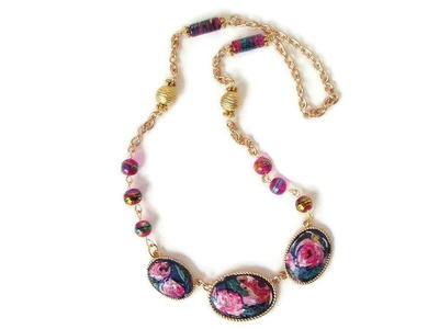 Decoupaged Napkin Necklace Upcycle