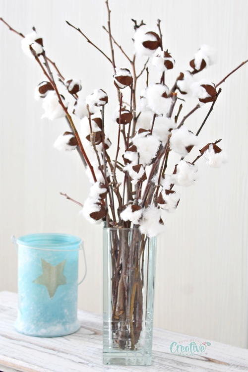 DIY faux cotton branches
