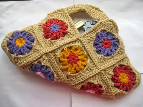 Floral Granny Square Crochet Purse