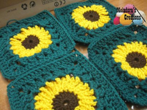 Fields of Sunflowers Granny Square