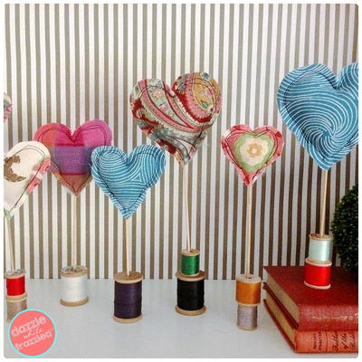 Fabric Scraps Heart Decor