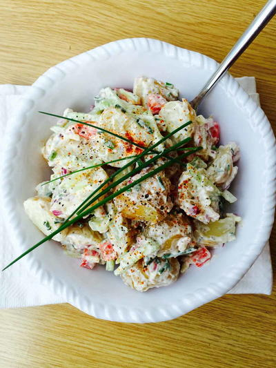 Potato, Cucumber and Garlic Salad